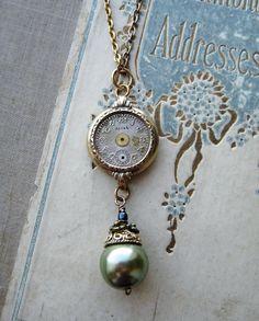 Necklace Steampunk Antique watch parts Acorn art nouvea gold wristwatch case deco via Etsy