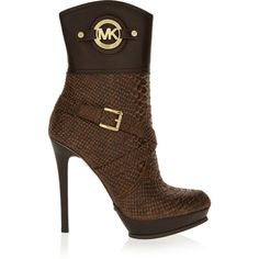 MICHAEL Michael Kors Stockard snake-effect leather platform boots ($190) ❤ liked on Polyvore featuring shoes, boots, brown, leather platform boots, high heel boots, brown leather boots, real leather boots and zipper boots