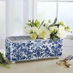 Long-Life Porcelain Flower Arranger Vase Blue And White Vase, White Vases, Blue Vases, Chinoiserie Chic, Ceramic Flowers, Flower Of Life, White Decor, White Porcelain, White Ceramics