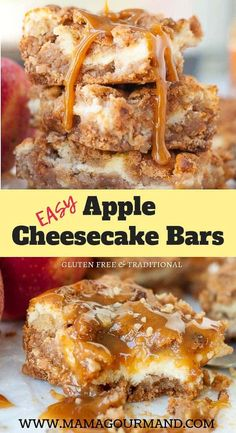 Apple Cheesecake Bars-Apple Cheesecake Bars Easy Apple Bars have a creamy cheesecake filling, use fresh apples, and get a caramel flavor from gooey butterscotch chips. These Apple Cheesecake Bars are guaranteed to go fast! Dessert Simple, Caramel Apple Cheesecake Bars, Cheesecake Recipes, Cheescake Bars, Dessert Sans Gluten, Apple Bars, Fingerfood Party, Butterscotch Chips, Sweets