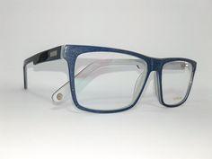 Óculos Grande Armação Acetato Unissex Tamanho 56 Azul