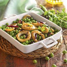 receta de guisantes con calamares Low Carb Recipes, Diet Recipes, Healthy Recipes, Healthy Food, Health Options, Tasty, Yummy Food, Calamari, Pasta Salad