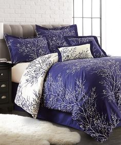 Navy & Ivory Foliage Six-Piece Comforter Set