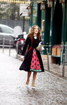 "Sex and the City. Sarah Jessica Parker donned a red and black polka-dot dress in ""An American Girl in Paris""."