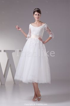 A-Line Corset-back 3/4-Length Sleeve Wedding Dresses -Wedding Dresses US$159.99