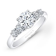 Natalie K - 14k White Gold Prong Bezel Set White Diamond Engagement Ring NK26632-W