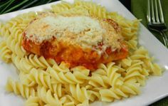 Skillet Chicken Parmesan with Pasta Twists...30 minute meal.