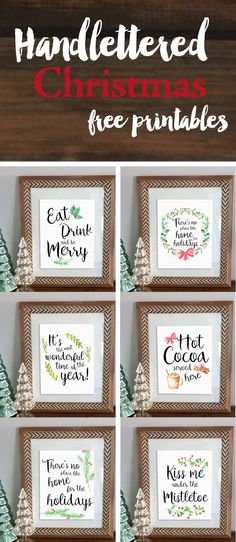 Handlettered Christmas Free printables. Easy artwork to decorate for Christmas and stay on budget!