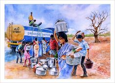 Amazing Watercolor Paintings by Indian Artist Abdul Salim Village Scene Drawing, Art Village, Composition Painting, Picture Composition, Vintage Landscape, Landscape Art, Watercolor Landscape, Watercolor Paintings For Beginners, Watercolor Art Paintings