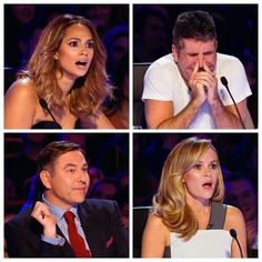David , Amanda and Alisha are like what while Simon is sat there like this is better then Jeremy Kyle ! Britain's Got Talent, Alesha Dixon, Amanda Holden, Simon Cowell, Television Program, Tv Presenters, Celebs, Celebrities, Awkward