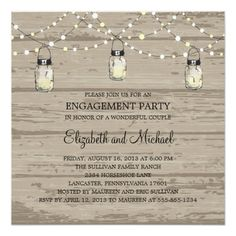 Barn Wedding Rehearsal Dinner Engagement Party Rustic Wood Mason Jar and Lights Card