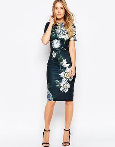 Image 1 of ASOS Premium Placed Dark Scuba Floral Midi Body-Conscious Dress