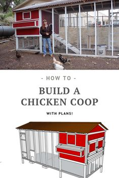 DIY Chicken Coop (with plans!) - Garden Style - DIY Chicken Coop (with plans!) Full video tutorials (and plans!) on how to build your own chicken coop # Large Chicken Coop Plans, Walk In Chicken Coop, Cheap Chicken Coops, Chicken Barn, Chicken Coup, Chicken Coop Designs, Small Chicken Coops, Chicken Coop Building Plans, Backyard Chicken Coop Plans