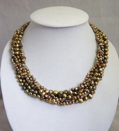 beadwork necklace,bib necklace,statement necklace,bridesmaid gifts,Beaded Jewelry,Multi Strand pearl necklace  With  Freshwater Pearl