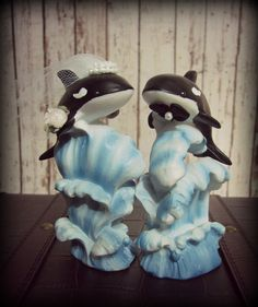 "Killer Whales Wedding Cake Topper-Orca Cake Topper-Whale Cake Topper 4.5"" tall x 4.5"" wide"