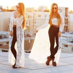 long lace cardigan in white- How to wear lace outfit http://www.justtrendygirls.com/how-to-wear-lace-outfit/
