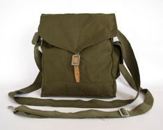 Vintage Military Bag 1960's Green Cotton Canvas Messenger Bag, Crossbody Bag, Unisex bag on Etsy, $16.00