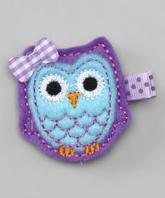 Take a look at this Bitty Bop Bows Purple & Blue Owl Clip by Stocking Stuffers: Kids' Accessories on #zulily today!