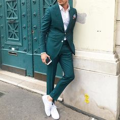Green suit by @aleksmusika  [ http://ift.tt/1f8LY65 ] #royalfashionist