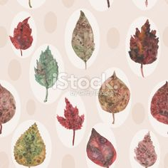 Watercolor autumn leaves seamless pattern, paint stains. vector Royalty Free Stock Vector Art Illustration