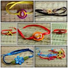 Rakhi+Collage | Handmade Rakhi   DIY |  A Hindu festival to celebrate brothers and sisters.  The sisters make the  bracelets and tie them around their brother's right wrist.  How to make a bracelets for kids.