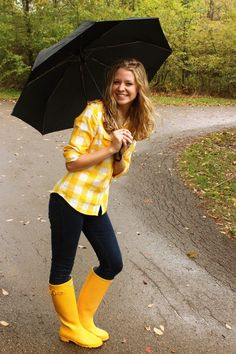 Bright yellow + rain boots = Rainy day style via Laughing Latte blog. Love the color to brighten up a rainy day.