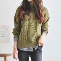 Round-Neck Cable-Knit Sweater - www. Sweater Outfits, Casual Outfits, Cute Outfits, Fashion Outfits, Fashion Women, Ulzzang Fashion, Asian Fashion, Cable Knit Sweaters, Winter Sweaters