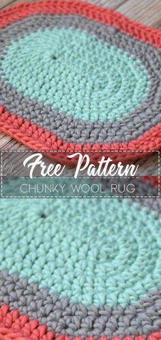 Chunky Wool Rug – Free Pattern#crochetpattern #crochet #freecrochetpattern #crochetamd #crochetlove #diy #tutorialcrochet #videocrochet #pattern
