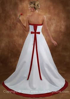 Wedding Dress With Red White And A Line Dresses