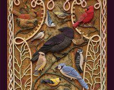 Uccelli di Beebe Woods - 18x24 Poster reproduction del tessuto del ricamo rilievo