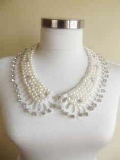 detachable peter pan collar necklace beads bridal by trendycollars, $12.00
