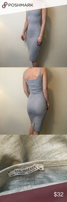 Zara Heather Grey Sleeveless Sexy Bodycon Dress Zara Dress with a soft cotton body in a Heather Grey color. Stretchy and is not lined. Not Sheer and is in great condition  worn only once no flaws. Zara Dresses
