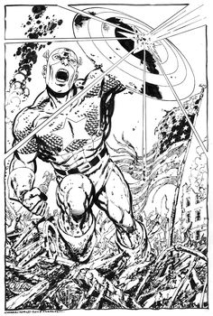 Captain America commission by John Byrne. Comic Book Artists, Comic Book Heroes, Comic Artist, Comic Books Art, Action Comics, Dc Comics, Marvel Saga, Adult Coloring Pages, Coloring Books