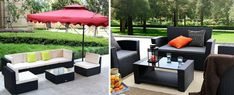 Black Wicker Patio Furniture for your Beach Outdoor Decor! We love outdoor coastal furniture and wicker furniture sets are a great option. Wicker Coffee Table, Wicker Dining Set, Wicker Couch, Dining Sets, Wicker Porch Swing, Patio Swing, Wicker Patio Furniture Sets, Coastal Furniture, Furniture Ideas