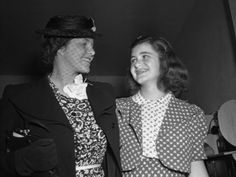 Arriving from Europe by clipper, Rosemary Kennedy (left), daughter of Joseph Kennedy, Ambassador to England, is greeted by sister Jean.