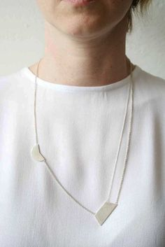 Silver Composition 5 - minimalist necklace by Naoko Ogawa. Sterling silver.