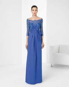 Beaded piqué and lace dress. Available in cobalt, green, navy blue, pink and black.