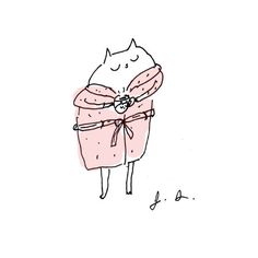 Coffee Breakfast Cat Pink Robe Fine Art Print by jamieshelman, $20.00