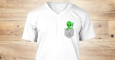 """Discover Cute Green Alien In A Drawn """"Pocket"""" T-Shirt, a custom product made just for you by Teespring. With world-class production and customer support, your satisfaction is guaranteed. - Ideal for sci-fi, spaceship fans and UFO..."""