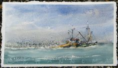Edo Hannema Watercolorart Fishing Boat, in front of the coast IJmuiden Seagulls have a party! Two Rivers paper TwoRivers PaperCompany Watercolour Tutorials, Watercolor Artists, Watercolor Landscape, Artist Painting, Painting & Drawing, Watercolor Paintings, Watercolors, Two Rivers, Fishing Boats