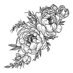Carnation Tattoo, Peonies Tattoo, Peony Flower Tattoos, Flower Cover Up Tattoos, Flower Bouquet Tattoo, Tattoos With Flowers, Flower Tattoo Sleeves, Daisies Tattoo, Flower Tattoo Stencils