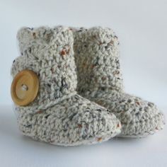 Oatmeal Infant Crochet Shell Wrap Boots- Choose Your Size