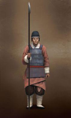 Han dynasty Infantry Spearman, 202 BCE-220 CE, Ancient China.