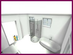 This remodeled bathroom has spiffy fixtures! What is missing to make it charming & wonderful? :)  3D floor plan designed in RoomSketcher Premium.  Bathroom designed by RoomSketcher user, groeirin