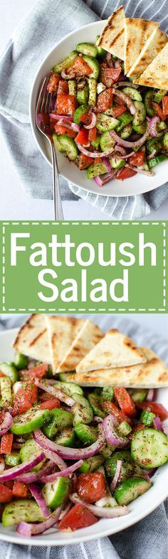 """Fattoush Salad - A simple and easy Middle Eastern salad that comes together in just minutes. It's piled high with fresh veggies and leaves you feeling healthy and satisfied. (Vegan & GF) 