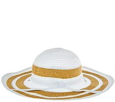San Diego Hat Co. Striped Ribbon Sun Hat w/Chin Strap & UPF 50