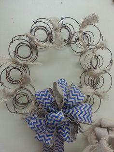 Vintage bed spring wreath