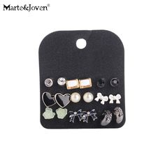 Earrings Marte&joven 18 Pairs Assorted Multiple Studs Earring Set Women Crystal Flower/cross/star Studs Set Of Earrings Girls Best Gifts