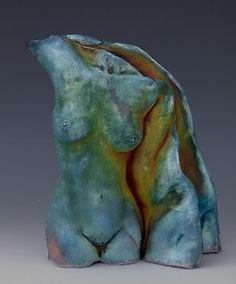 Raku ceramic sculpture figure