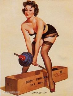 I love this pinup portrait! I never usually see weightlifting pinups, and this one embodies what I love to have in my life: Beauty, strength, and a bit of flirtation. I haven't mastered how to lift weights in nylon stockings and heels yet, but I love how this curvy lady can be both glamorous and strong. #nicolettemason #simplybe #celebrateyou